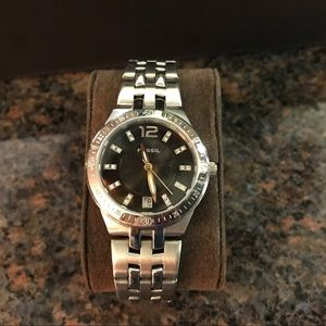 Silver Fossil watch black and rhinestone face